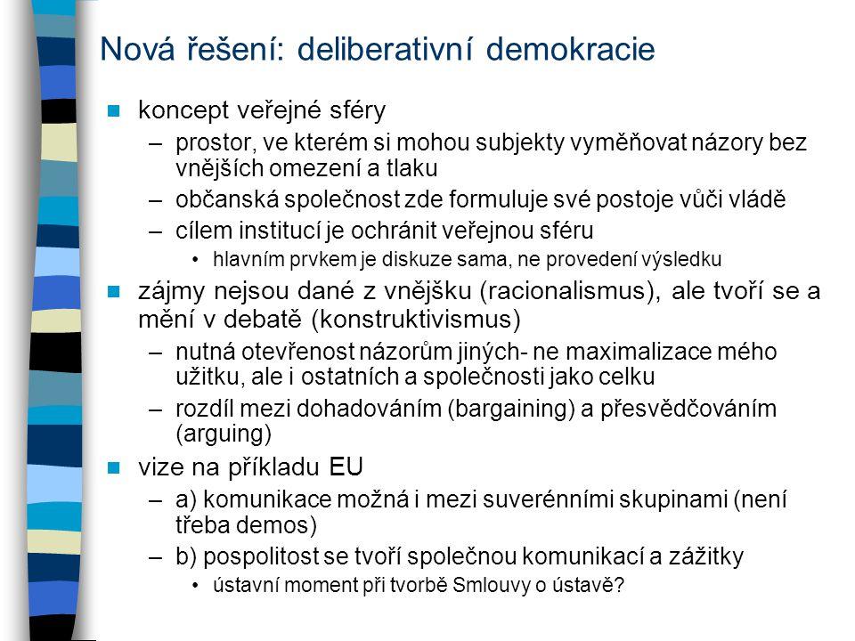 Nová řešení: deliberativní demokracie