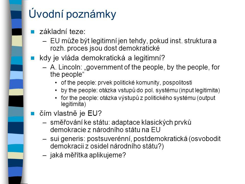 Úvodní poznámky základní teze: kdy je vláda demokratická a legitimní