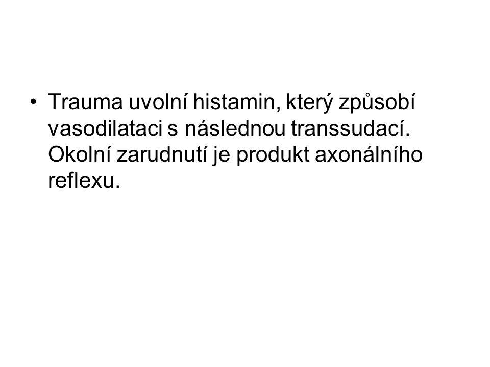 Trauma uvolní histamin, který způsobí vasodilataci s následnou transsudací.