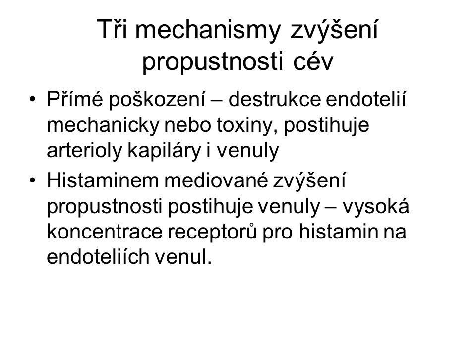 Tři mechanismy zvýšení propustnosti cév