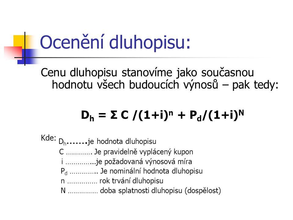 Dh = Σ C /(1+i)n + Pd/(1+i)N