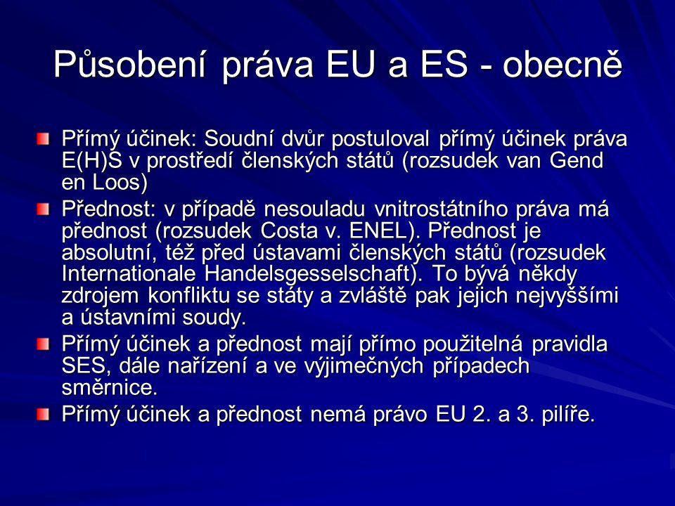 Působení práva EU a ES - obecně