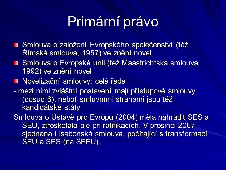 Primární právo Smlouva o založení Evropského společenství (též Římská smlouva, 1957) ve znění novel.