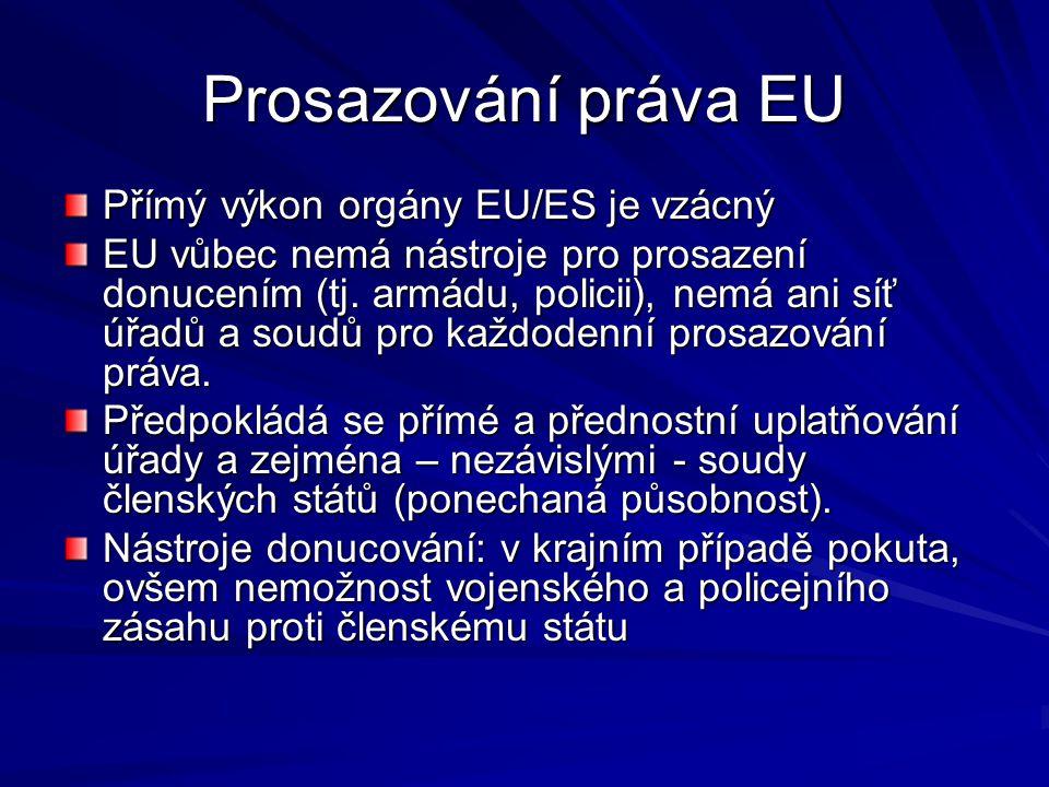 Prosazování práva EU Přímý výkon orgány EU/ES je vzácný