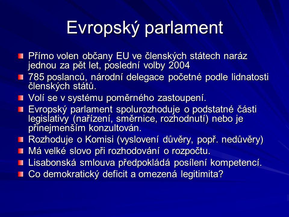 Evropský parlament Přímo volen občany EU ve členských státech naráz jednou za pět let, poslední volby 2004.