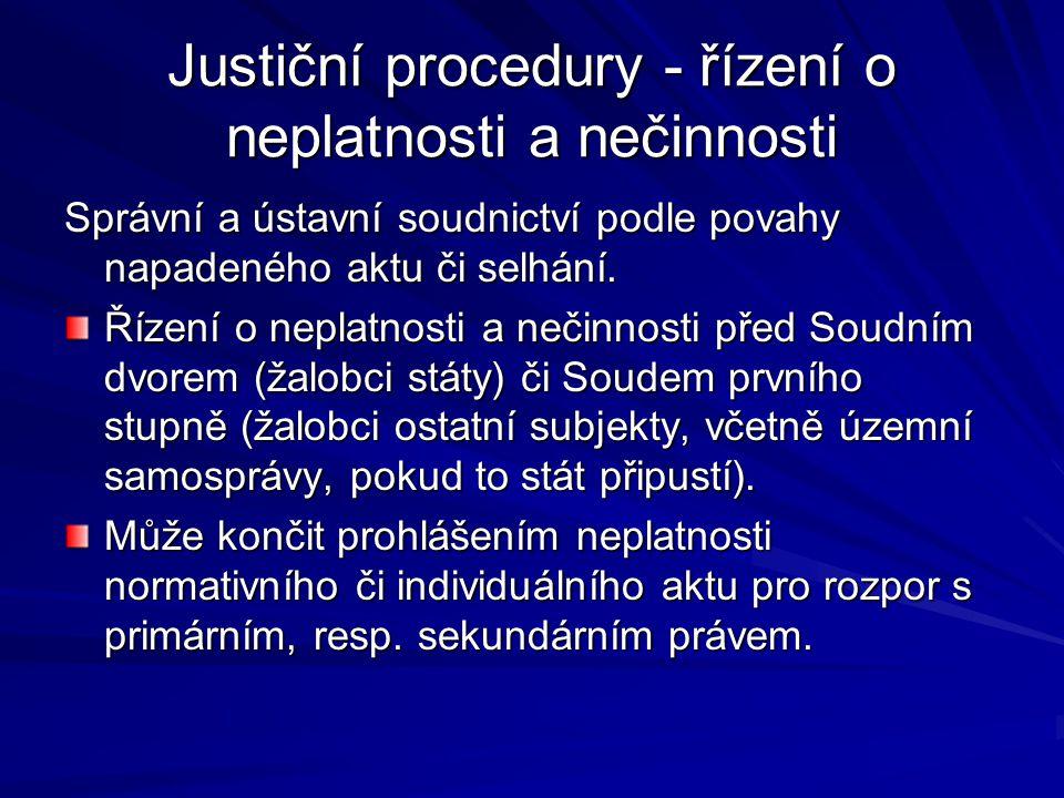 Justiční procedury - řízení o neplatnosti a nečinnosti