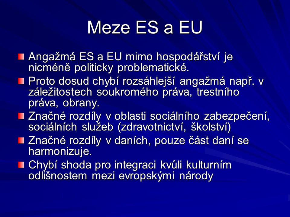 Meze ES a EU Angažmá ES a EU mimo hospodářství je nicméně politicky problematické.