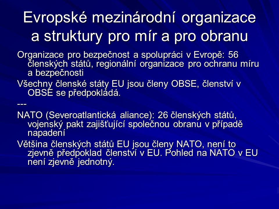 Evropské mezinárodní organizace a struktury pro mír a pro obranu
