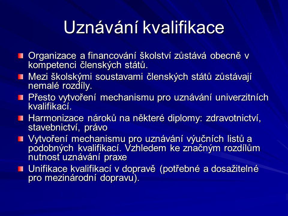Uznávání kvalifikace Organizace a financování školství zůstává obecně v kompetenci členských států.