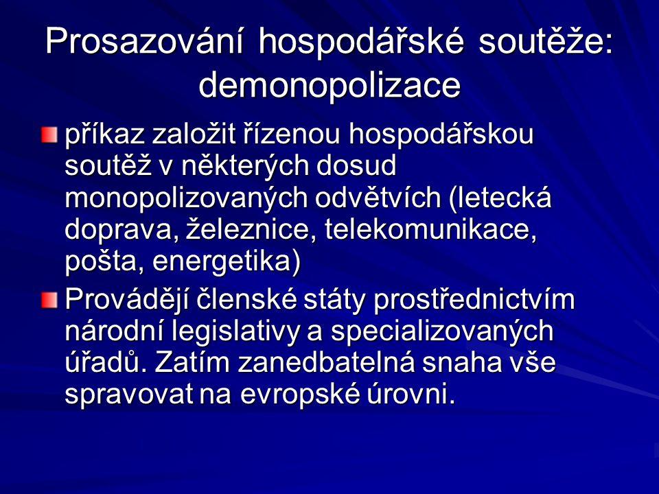 Prosazování hospodářské soutěže: demonopolizace