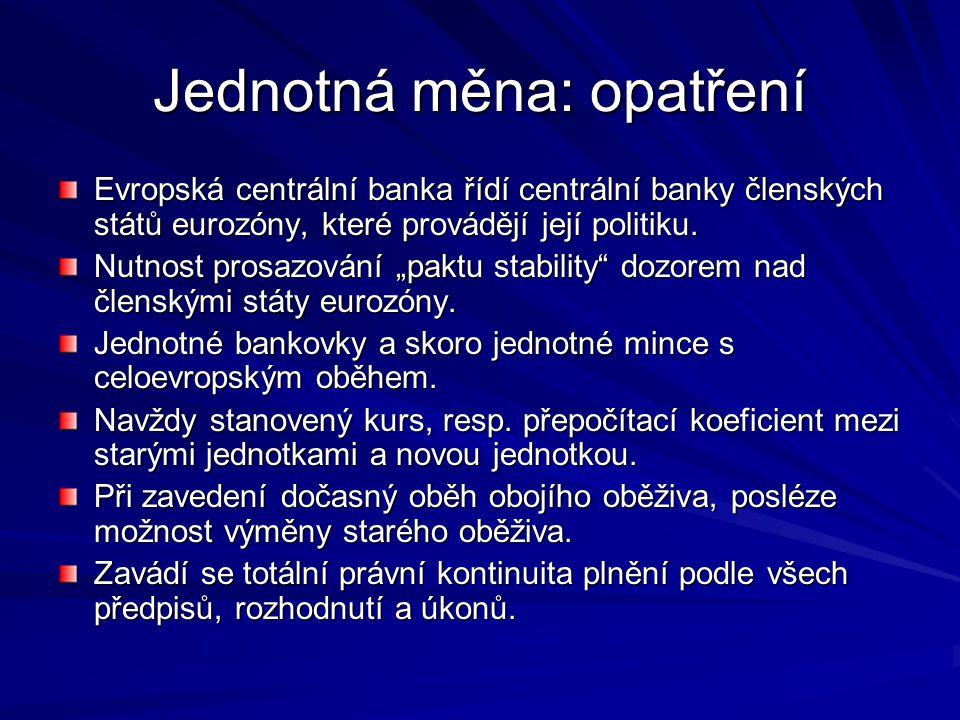 Jednotná měna: opatření