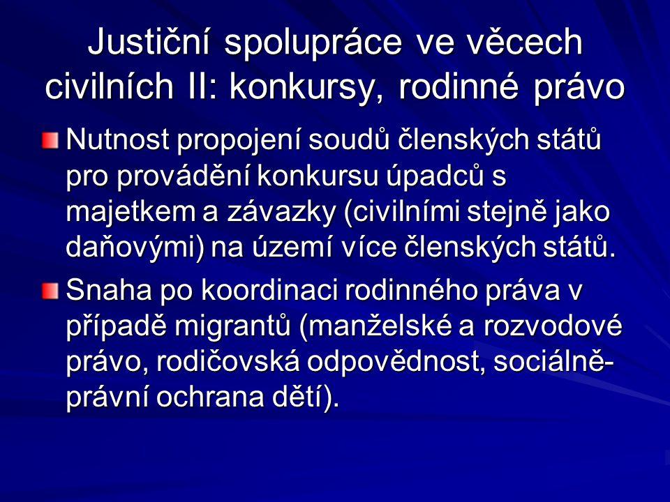 Justiční spolupráce ve věcech civilních II: konkursy, rodinné právo