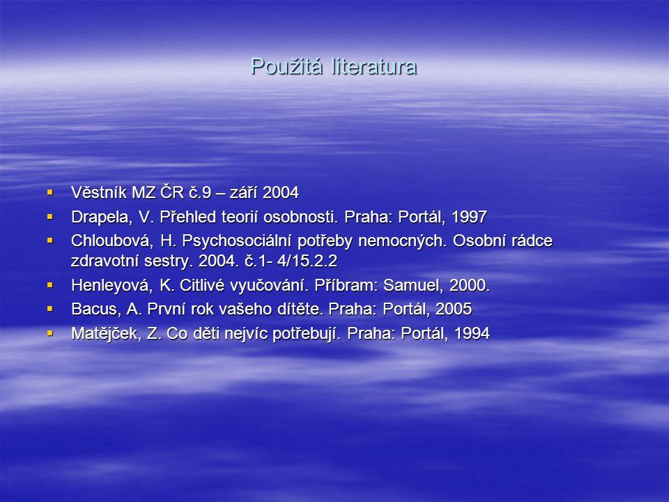 Použitá literatura Věstník MZ ČR č.9 – září 2004