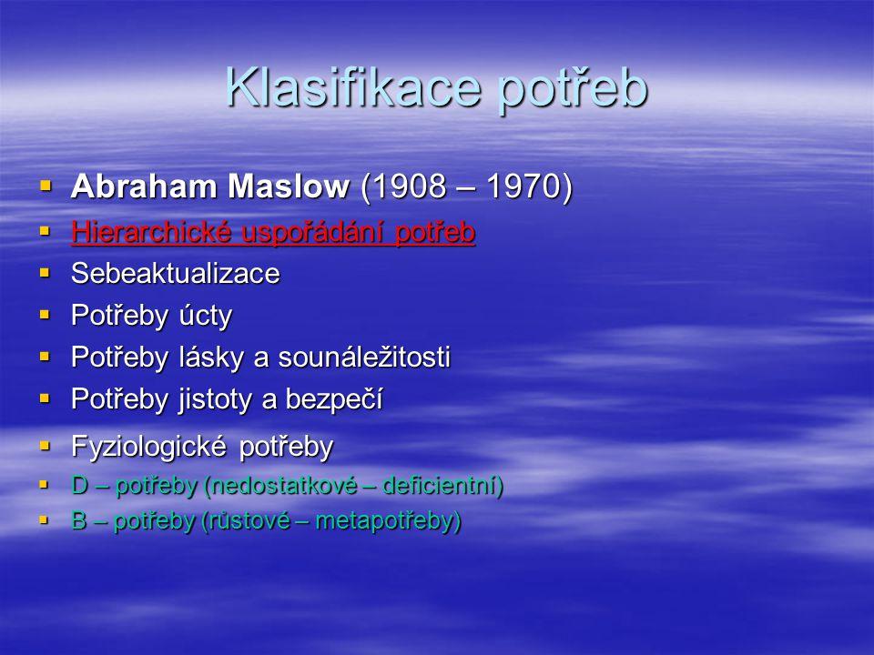 Klasifikace potřeb Abraham Maslow (1908 – 1970)