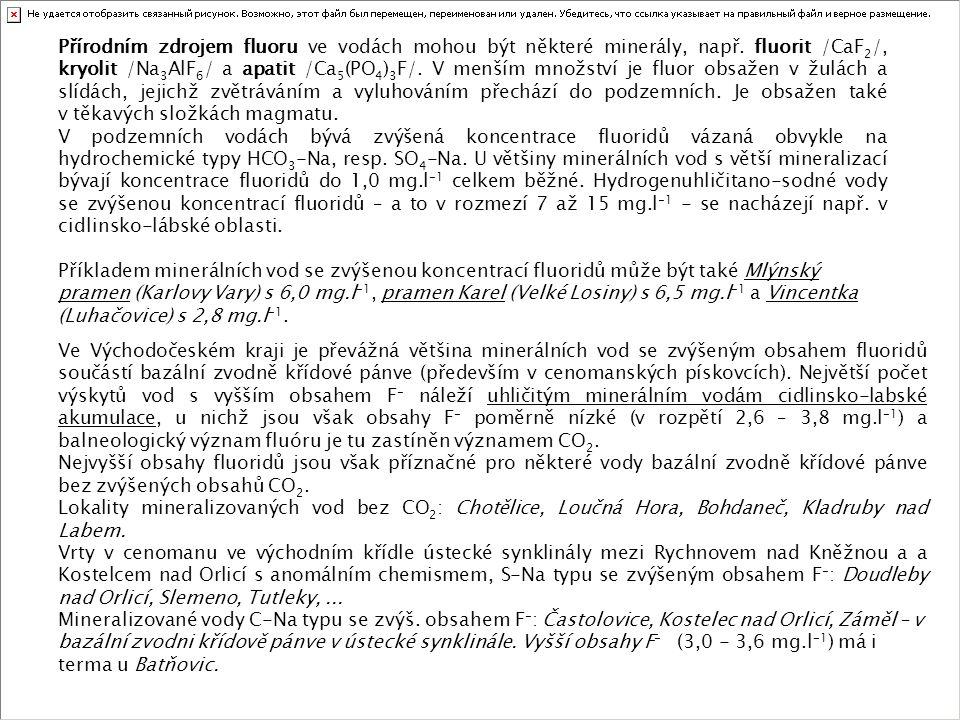 Přírodním zdrojem fluoru ve vodách mohou být některé minerály, např
