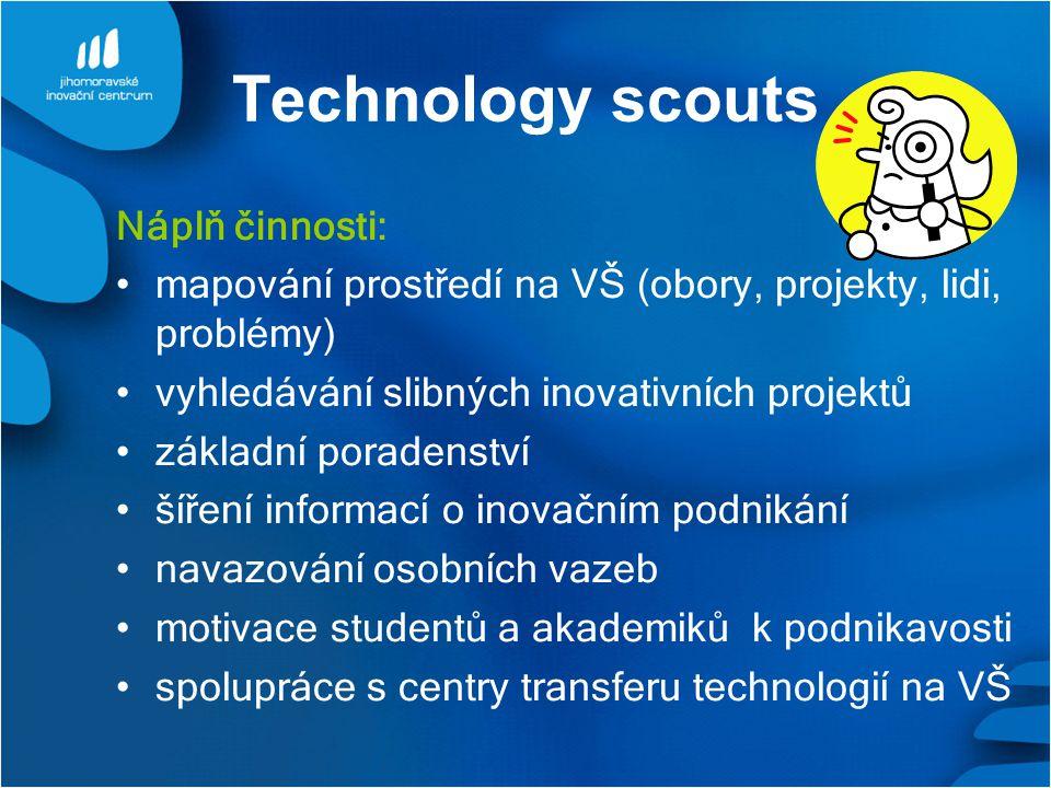 Technology scouts Náplň činnosti: