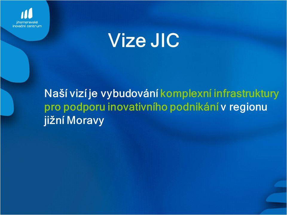Vize JIC Naší vizí je vybudování komplexní infrastruktury pro podporu inovativního podnikání v regionu jižní Moravy.