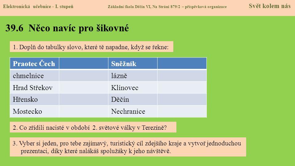39.6 Něco navíc pro šikovné Praotec Čech Sněžník chmelnice lázně