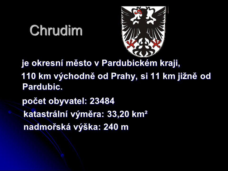 Chrudim je okresní město v Pardubickém kraji, počet obyvatel: 23484