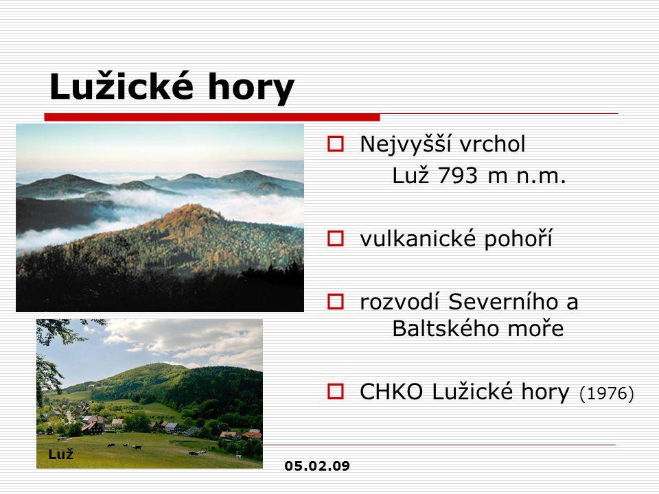 Lužické hory Nejvyšší vrchol Luž 793 m n.m. vulkanické pohoří