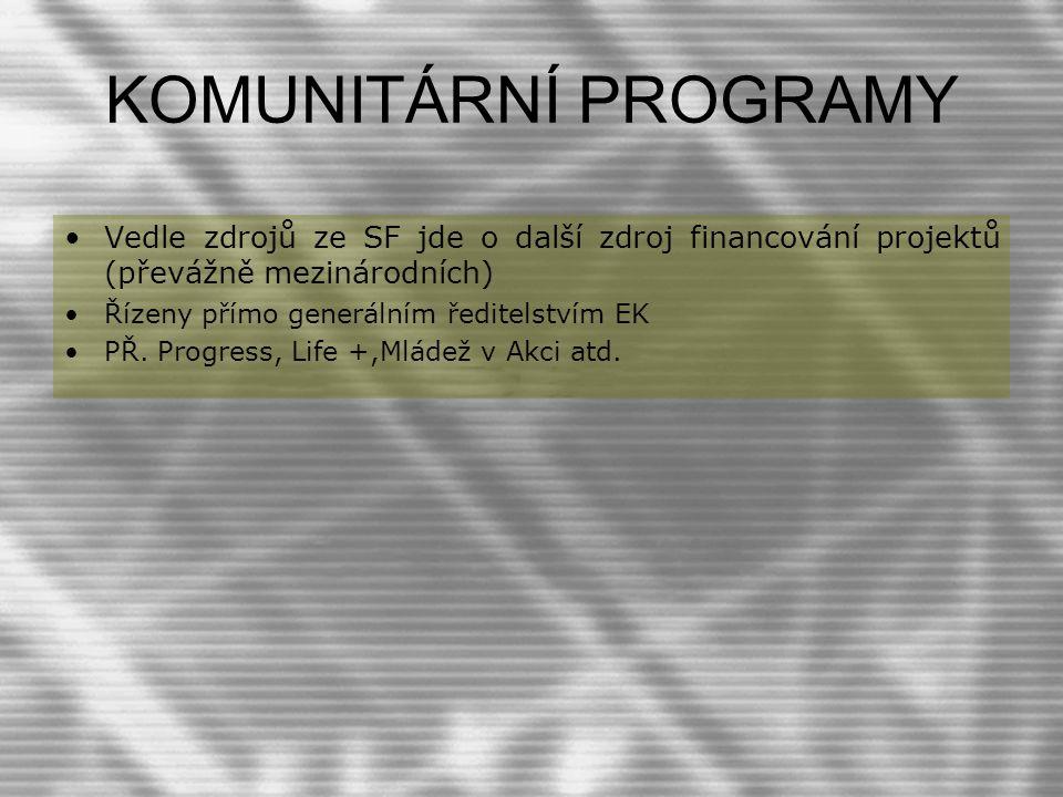 KOMUNITÁRNÍ PROGRAMY Vedle zdrojů ze SF jde o další zdroj financování projektů (převážně mezinárodních)
