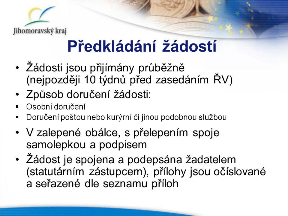 Předkládání žádostí Žádosti jsou přijímány průběžně (nejpozději 10 týdnů před zasedáním ŘV) Způsob doručení žádosti: