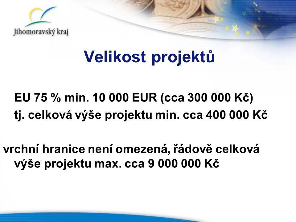 Velikost projektů EU 75 % min. 10 000 EUR (cca 300 000 Kč)