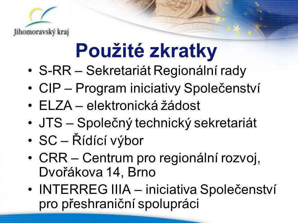 Použité zkratky S-RR – Sekretariát Regionální rady