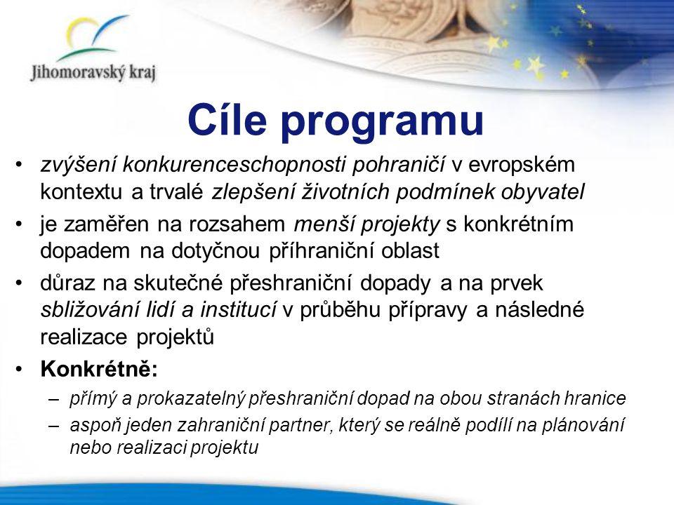 Cíle programu zvýšení konkurenceschopnosti pohraničí v evropském kontextu a trvalé zlepšení životních podmínek obyvatel.