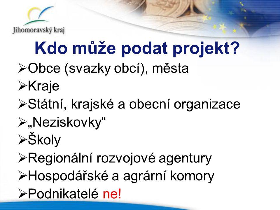 Kdo může podat projekt Obce (svazky obcí), města Kraje