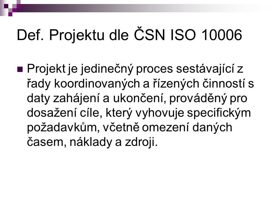 Def. Projektu dle ČSN ISO 10006