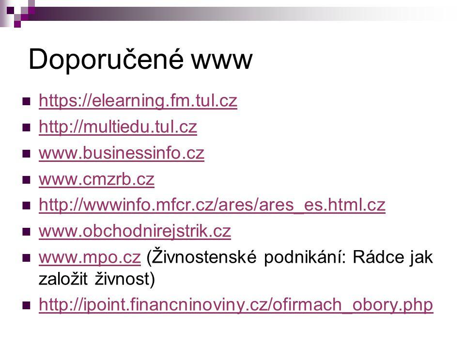 Doporučené www https://elearning.fm.tul.cz http://multiedu.tul.cz