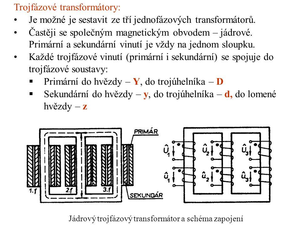 Jádrový trojfázový transformátor a schéma zapojení