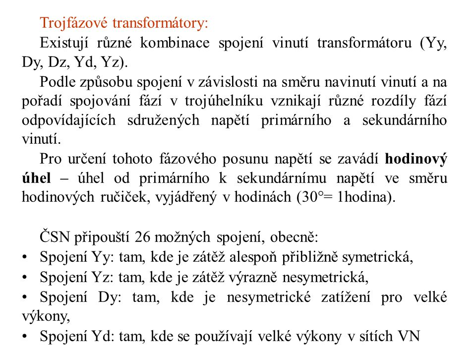 Trojfázové transformátory:
