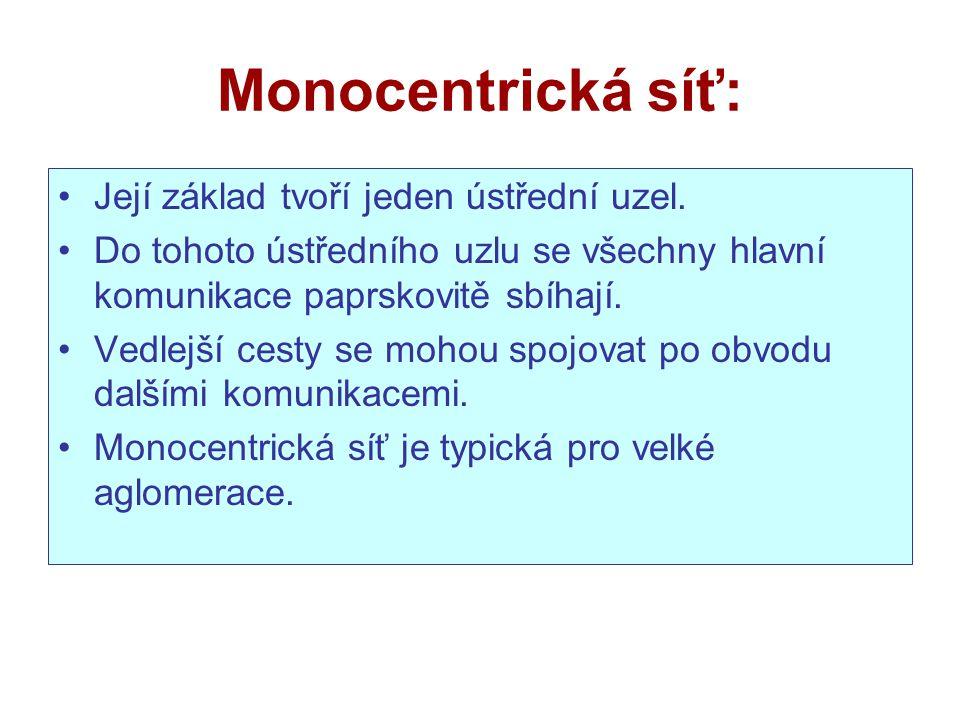 Monocentrická síť: Její základ tvoří jeden ústřední uzel.