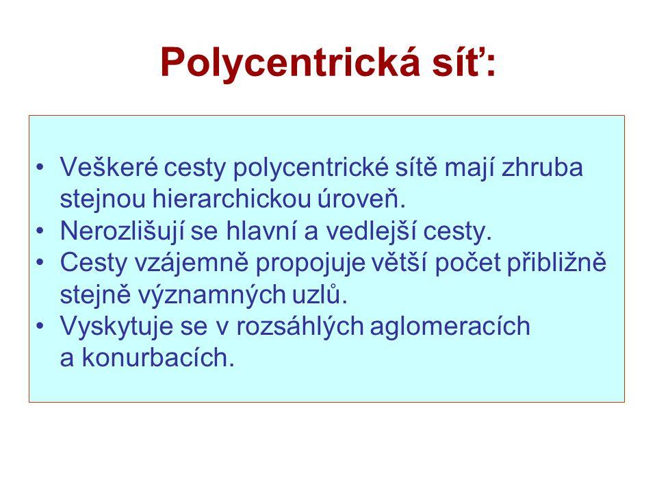 Polycentrická síť: Veškeré cesty polycentrické sítě mají zhruba stejnou hierarchickou úroveň. Nerozlišují se hlavní a vedlejší cesty.