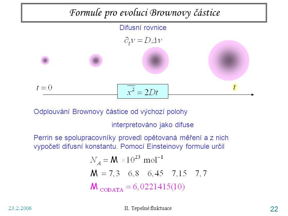 Formule pro evoluci Brownovy částice