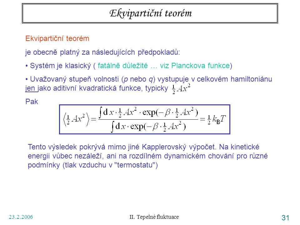 Ekvipartiční teorém Ekvipartiční teorém