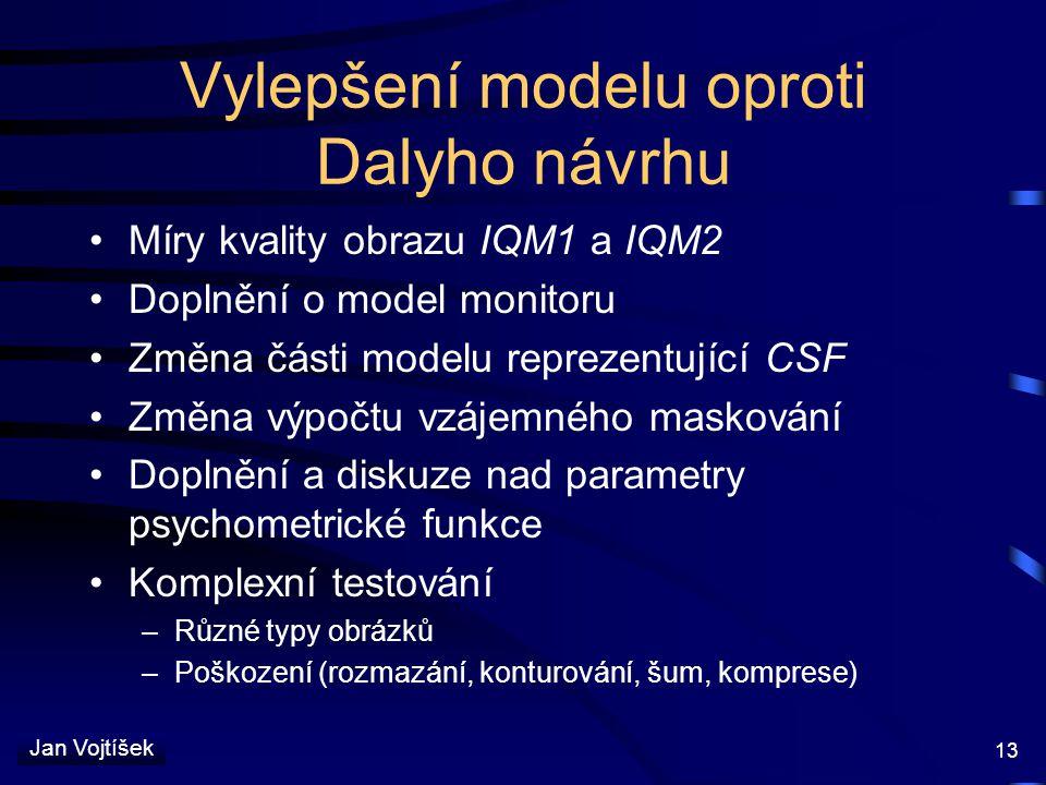 Vylepšení modelu oproti Dalyho návrhu