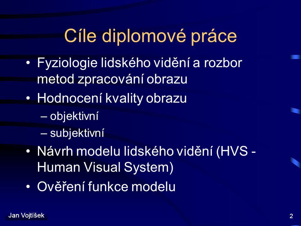 Cíle diplomové práce Fyziologie lidského vidění a rozbor metod zpracování obrazu. Hodnocení kvality obrazu.