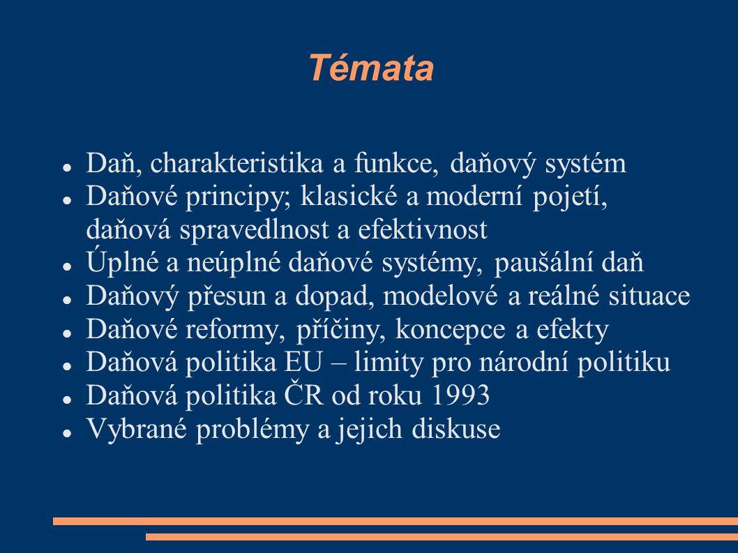 Témata Daň, charakteristika a funkce, daňový systém