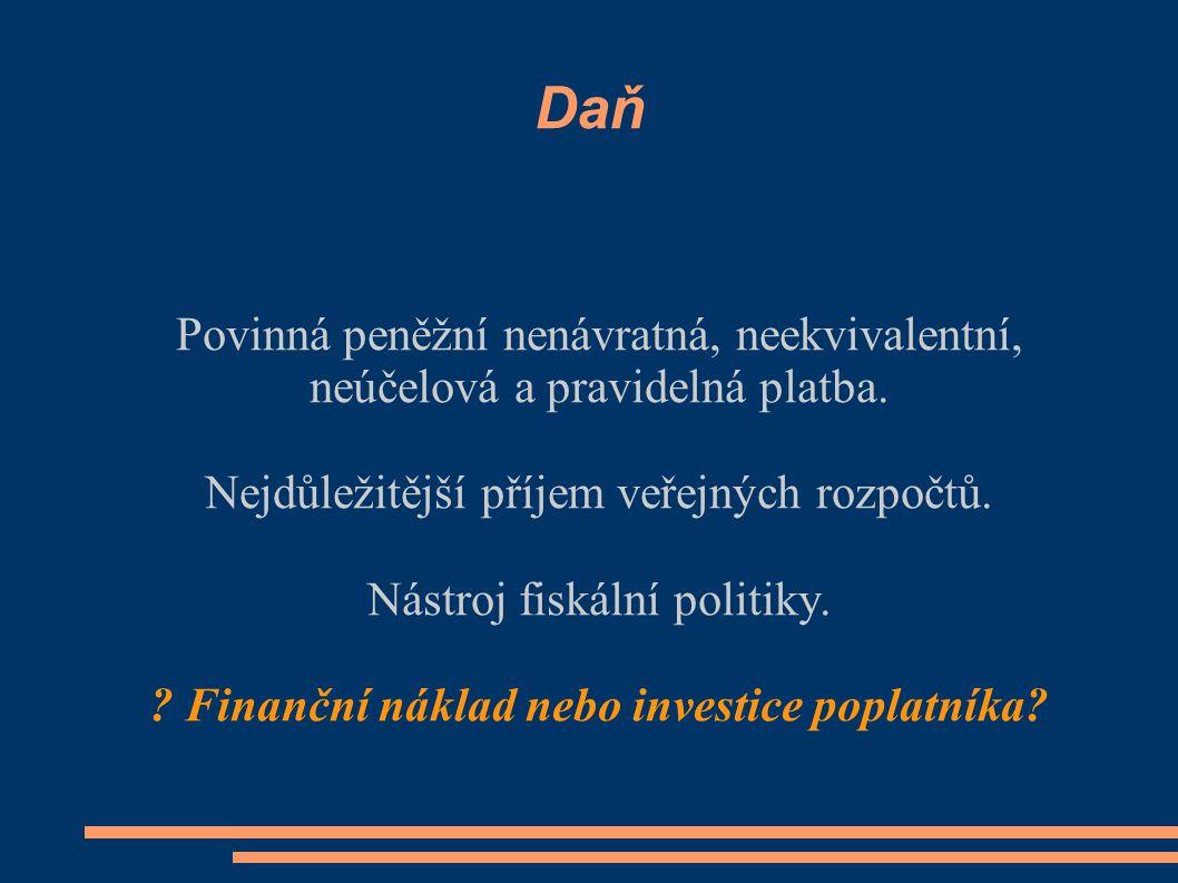 Finanční náklad nebo investice poplatníka