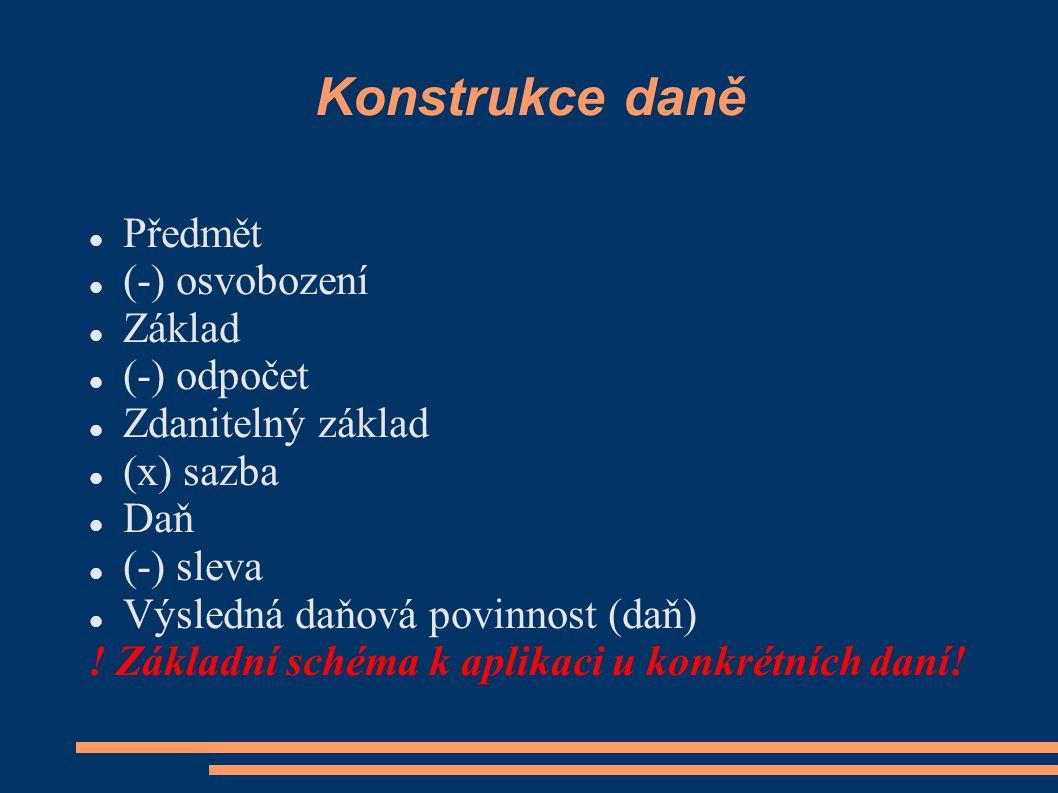 Konstrukce daně Předmět (-) osvobození Základ (-) odpočet