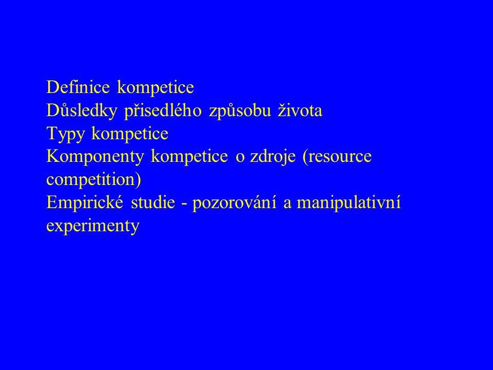 Definice kompetice Důsledky přisedlého způsobu života Typy kompetice Komponenty kompetice o zdroje (resource competition) Empirické studie - pozorování a manipulativní experimenty