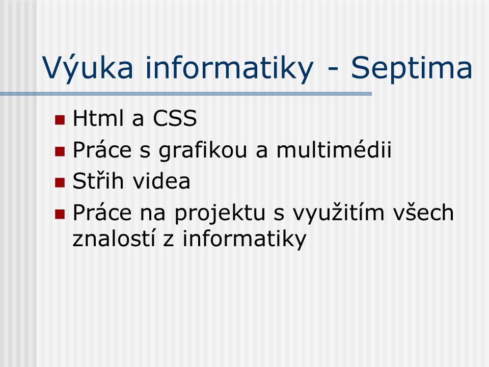 Výuka informatiky - Septima