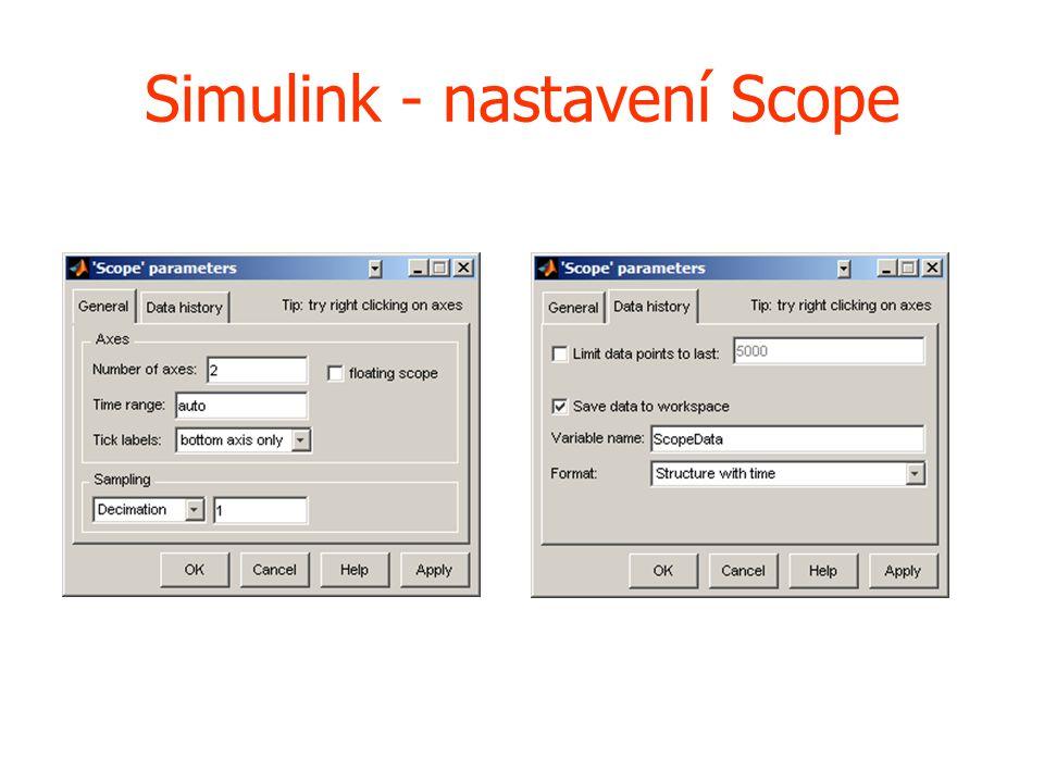 Simulink - nastavení Scope