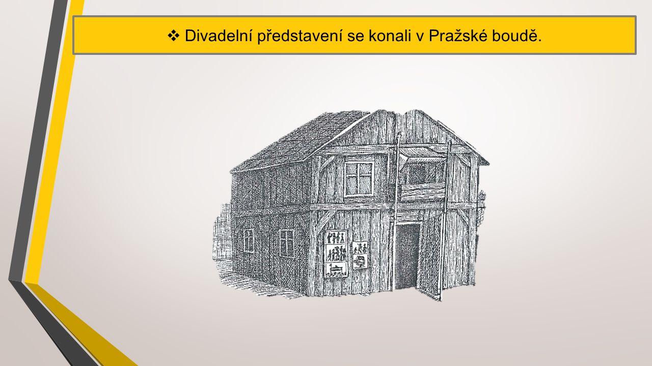 Divadelní představení se konali v Pražské boudě.