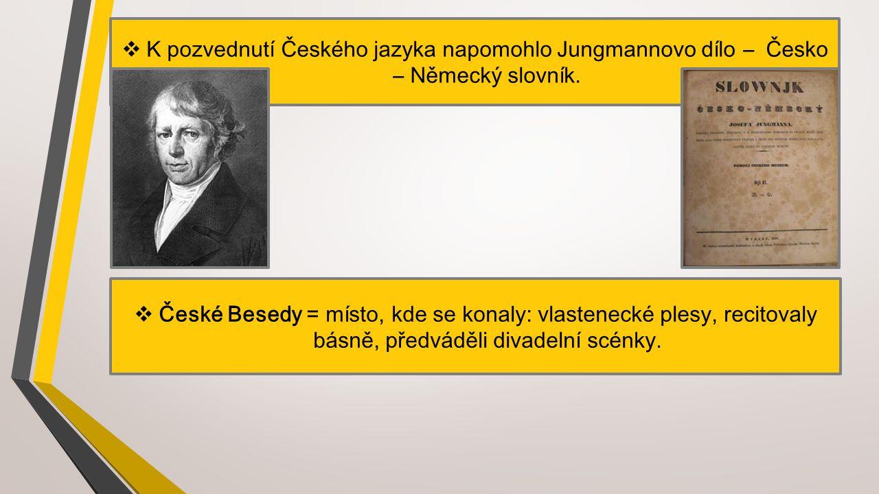 K pozvednutí Českého jazyka napomohlo Jungmannovo dílo – Česko – Německý slovník.