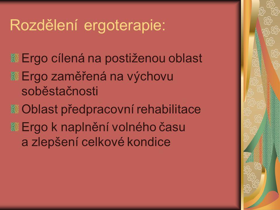 Rozdělení ergoterapie: