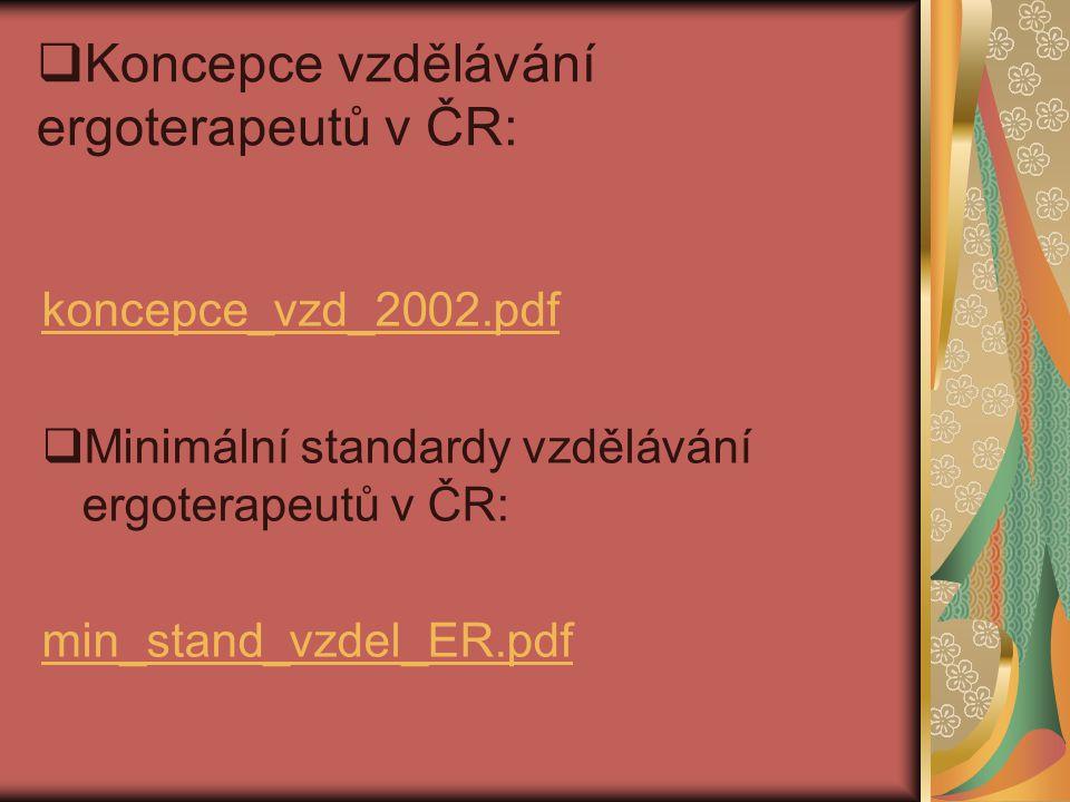 Koncepce vzdělávání ergoterapeutů v ČR: